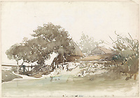 Farms at Waalsdorp village - watercolor - by Johannes Bosboom, 1827 - 1891