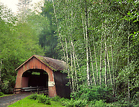 North Fork of Yachats River covered bridge in Lincoln County Oregon