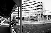 """Toyota City, Japan.June 14, 2009..Toyota City, the Detroit of Japan, and home of Toyota car manufacturing company...Toyota company dormitory buildings named """"Tanaka Wafu Ryou"""" have been empty for a few years."""