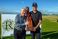 Tyler Wood and NZ Golf life member Neil Woodbury. Day four of the Renaissance Brewing NZ Stroke Play Championship at Paraparaumu Beach Golf Club in Paraparaumu, New Zealand on Sunday, 21 March 2021. Photo: Dave Lintott / lintottphoto.co.nz