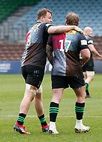 20th March 2021; Twickenham Stoop, London, England; English Premiership Rugby, Harlequins versus Gloucester; Harlequins, Gloucester; Alex Dombrandt of Harlequins and Joe Marler of Harlequins after their pack doing so well to set up the rolling maul for Alex's try