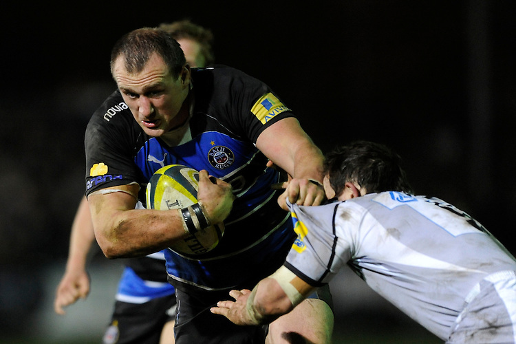 Carl Fearns of Bath Rugby drives forward during the LV= Cup semi final match between Bath Rugby and Leicester Tigers at The Recreation Ground, Bath (Photo by Rob Munro, Fotosports International)