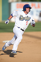 Dillon Moyer (5) of the Rancho Cucamonga Quakes runs the bases during a game against the Bakersfield Blaze at LoanMart Field on June 1, 2015 in Rancho Cucamonga, California. Rancho Cucamonga defeated Bakersfield, 5-2. (Larry Goren/Four Seam Images)