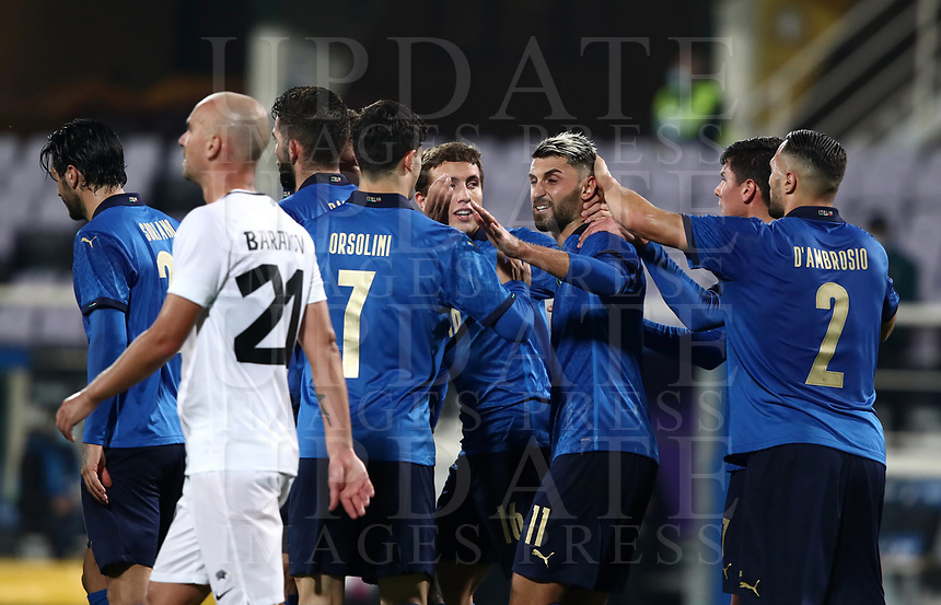 FBL- Friendly  football match Italy vs Estonia at the Artemio Franchi stadium in Florence on November 11, 2020.<br /> Italy's Emerson (c) celebrates after scoring with his teammates during the friendly football match between Italy snd Estonia at the Artemio Franchi stadium in Florence on November 11, 2020. <br /> UPDATE IMAGES PRESS/Isabella Bonotto