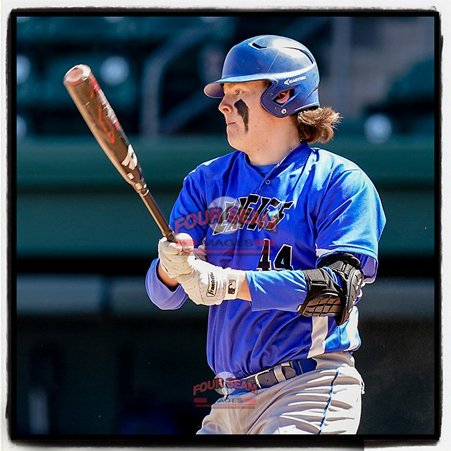 Brody Fowler (44) of the Eastside High School Eagles hits a double in a game against the Wren High School Hurricanes on Saturday, March 20, 2021, at Fluor Field at the West End in Greenville, South Carolina. Eastside won, 6-5. (Tom Priddy/Four Seam Images)