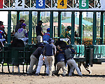 Scenes from Gulfstream Park. Honor Code being hard to load into the gate.  Hallandale Beach, Florida 03-12-2014