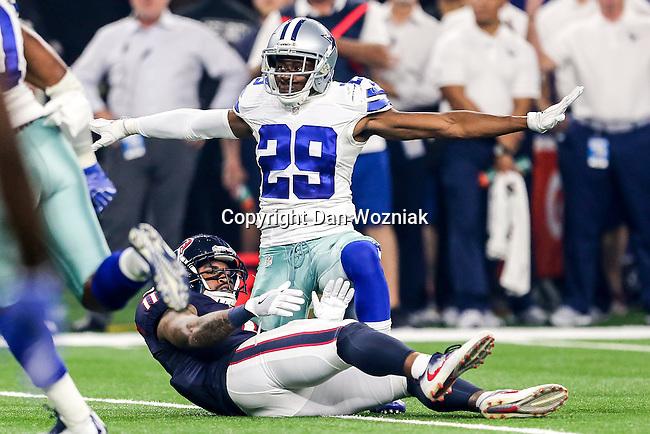 Dallas Cowboys cornerback Deji Olatoye (29) and Houston Texans wide receiver Jaelen Strong (11) in action during the pre-season game between the Houston Texans and the Dallas Cowboys at the AT & T stadium in Arlington, Texas.