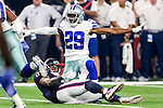Dallas Cowboys cornerback Deji Olatoye (29) and Houston Texans wide receiver Jaelen Strong (11) in action during the pre-season game between the Houston Texans and the Dallas Cowboys at the AT & T stadium in Arlington, Texas.