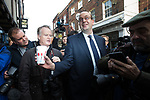 © Joel Goodman - 07973 332324 . 20/11/2014 . Kent , UK . ) . Mark Reckless arrives at the entrance to the UKIP shop on High Street , Rochester . The Rochester and Strood by-election campaign following the defection of sitting MP Mark Reckless from Conservative to UKIP . Photo credit : Joel Goodman