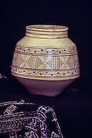 Ceramics, Nabeul, Tunisia.  Modern Pot.  Nabeul Arts and Crafts Center.