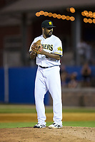 Sussex County Miners relief pitcher ElHajj Muhammad (32) looks to his catcher for the sign against the New Jersey Jackals at Skylands Stadium on July 29, 2017 in Augusta, New Jersey.  The Miners defeated the Jackals 7-0.  (Brian Westerholt/Four Seam Images)