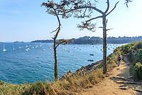 France, Ille et Vilaine, Cote d'Emeraude (Emerald Coast), Cancale, walker on the coast path GR34 and the Anse de Port Mer // France, Ille-et-Vilaine (35), Côte d'Émeraude, Cancale, marcheuse sur le sentier du littoral GR34 et l'anse de Port-Mer