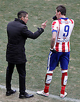 Atletico de Madrid's coach Diego Pablo Cholo Simeone (l) with Mario Mandzukic during La Liga match.February 7,2015. (ALTERPHOTOS/Acero)