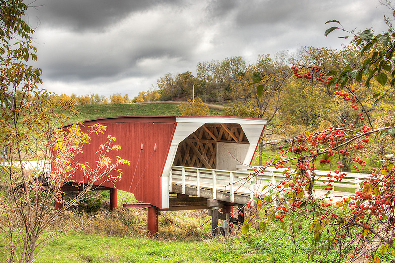 HDR photograph of Cedar Covered Bridge, Madison County, Iowa