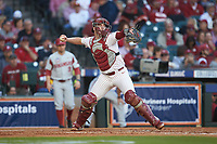 Oklahoma Sooners catcher Justin Mitchell (14) makes a throw to second base against the Arkansas Razorbacks in game two of the 2020 Shriners Hospitals for Children College Classic at Minute Maid Park on February 28, 2020 in Houston, Texas. The Sooners defeated the Razorbacks 6-3. (Brian Westerholt/Four Seam Images)