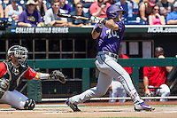 TCU Horned Frogs outfielder Austen Wade (8) follows through on his swing against the Texas Tech Red Raiders in Game 3 of the NCAA College World Series on June 19, 2016 at TD Ameritrade Park in Omaha, Nebraska. TCU defeated Texas Tech 5-3. (Andrew Woolley/Four Seam Images)