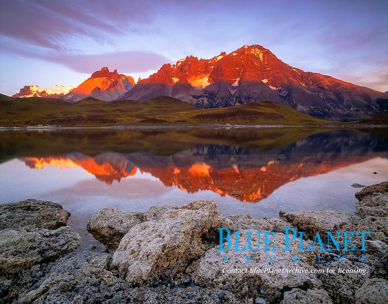 Chile, Patagonia, Torres del Paine National Park, A rare reflection at sunrise looking towards the Cuernos del Paine