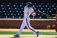 Ian Happ (5) of the Cincinnati Bearcats follows through on his swing against the Radford Highlanders at Wake Forest Baseball Park on February 22, 2014 in Winston-Salem, North Carolina.  The Highlanders defeated the Bearcats 6-5.  (Brian Westerholt/Four Seam Images)