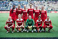 Seattle, WA - Saturday May 13, 2017: Washington Spirit starting eleven during a regular season National Women's Soccer League (NWSL) match between the Seattle Reign FC and the Washington Spirit at Memorial Stadium.