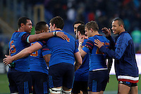 Rugby, Torneo Sei Nazioni: Italia vs Francia. Roma, stadio Olimpico, 15 marzo 2015.<br /> French players celebrate at the end of the Six Nations championship rugby match between Italy and France at Rome's Olympic stadium, 15 March 2015. France won 29-0.<br /> UPDATE IMAGES PRESS/Riccardo De Luca