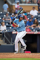 Patrick Leonard (30) of the Durham Bulls at bat against the Buffalo Bisons at Durham Bulls Athletic Park on April 30, 2017 in Durham, North Carolina.  The Bisons defeated the Bulls 6-1.  (Brian Westerholt/Four Seam Images)