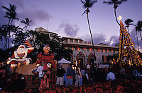 families enjoy Christmas decorations at Honolulu hale, in Downtown Honolulu