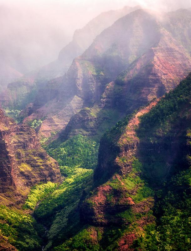 Hanapepe Valley with rain clouds. Kauai, Hawaii