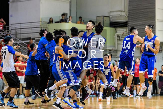 Eastern Long Lions players celebrating after winning the Final of Hong Kong Basketball League 2018 match between SCAA v Eastern Long Lions on August 10, 2018 in Hong Kong, Hong Kong. Photo by Marcio Rodrigo Machado/Power Sport Images