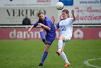 Finale Beker van West-Vlaanderen Vrouwen FC Knokke - SK Opex Girls Oostende :  duel tussen Fien Devriendt (links) en Ruth Wille (rechts)<br /> foto VDB / BART VANDENBROUCKE