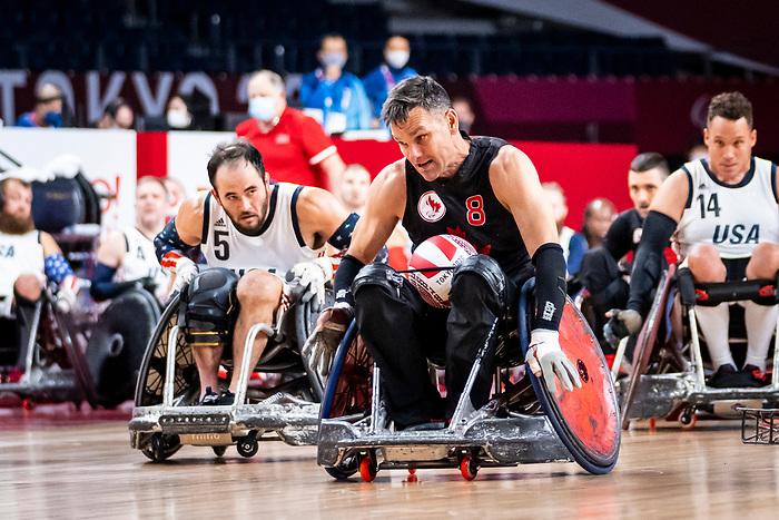 Michael Whitehead, Tokyo 2020 - Wheelchair Rugby // Rugby en fauteuil roulant.<br /> Canada takes on The USA in the preliminary round // Le Canada affronte Les Etats-Unis d'Amérique au tour préliminaire. 26/08/2021.