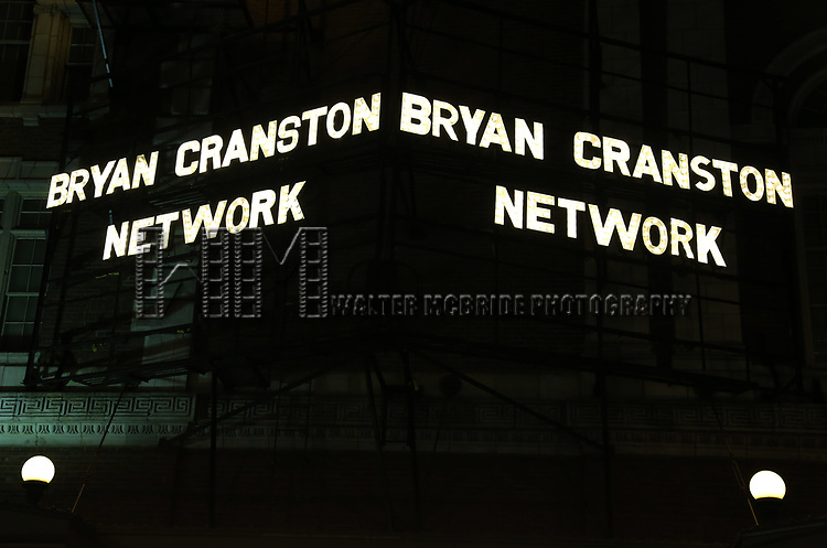 "Theatre Marquee for ""Network"" starring Bryan Cranston and directed by Ivo van Hove on October 17, 2018 at the Belasco Theatre in New York City."