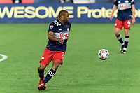 FOXBOROUGH, MA - APRIL 24: Andrew Farrell #2 of New England Revolution tracks a loose ball during a game between D.C. United and New England Revolution at Gillette Stadium on April 24, 2021 in Foxborough, Massachusetts.