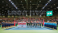 Switserland, Genève, September 18, 2015, Tennis,   Davis Cup, Switserland-Netherlands, Openings ceremony, <br /> Photo: Tennisimages/Henk Koster