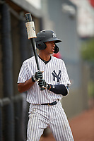 GCL Yankees East Asdrubal Alvarez (38) on deck during a Gulf Coast League game against the GCL Phillies East on July 31, 2019 at Yankees Minor League Complex in Tampa, Florida.  GCL Phillies East defeated the GCL Yankees East 4-3 in the second game of a doubleheader.  (Mike Janes/Four Seam Images)