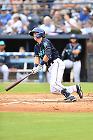 Asheville Tourists Alex Holderbach (14) swings at a pitch during a game against the Aberdeen IronBirds on June 19, 2021 at McCormick Field in Asheville, NC. (Tony Farlow/Four Seam Images)