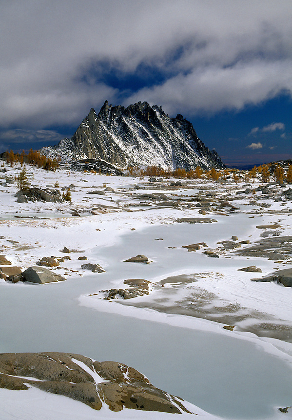 Prusik Peak and snow covered Upper Enchantment Lakes, Enchantment Lakes, Alpine Lakes Wilderness, Washingto