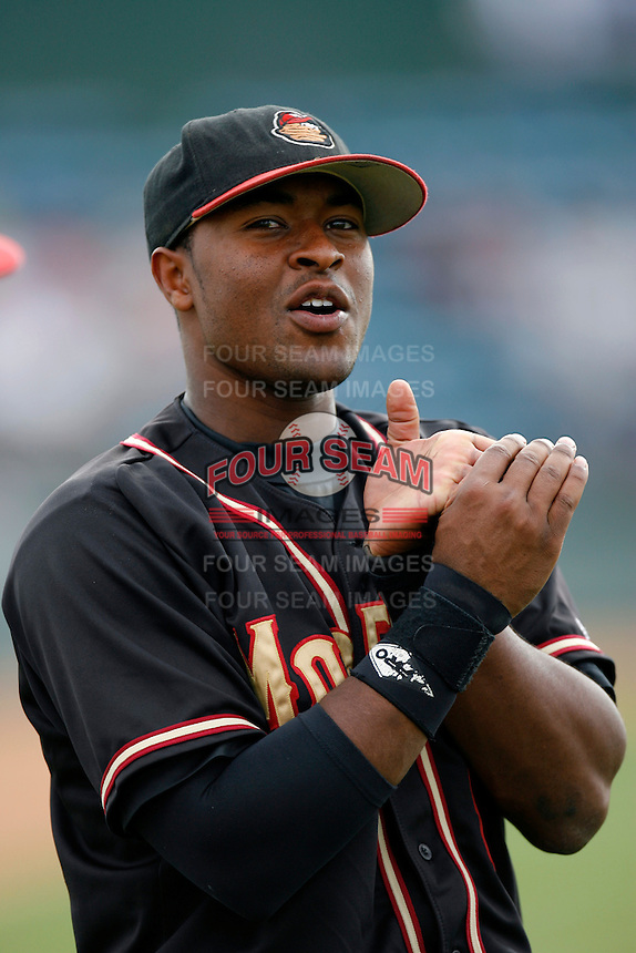 Chris Nelson of the Modesto Nuts during a California League baseball game on July 22, 2007 at The Epicenter in Rancho Cucamonga, California. (Larry Goren/Four Seam Images)