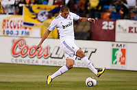 Karim Benzema controls the ball. Real Madrid defeated Club America 3-2 at Candlestick Park in San Francisco, California on August 4th, 2010.
