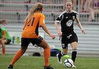 BOYDS, MARYLAND-JULY 07,2012:  Becky Sauerbrunn (11) of DC United Women moves up on Lauren Hettinger (21) of Dayton Dutch Lions during a W League game at Maryland Soccerplex, in Boyds, Maryland. DC United women won 4-1.