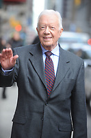NEW YORK, NY - MARCH 24: Jimmy Carter arrives the 'Late Show With David Letterman' taping at the Ed Sullivan Theater on March 24, 2014 in New York City.<br /> <br /> <br /> People:  Jimmy Carter<br /> <br /> Transmission Ref:  MNC1<br /> <br /> Must call if interested<br /> Michael Storms<br /> Storms Media Group Inc.<br /> 305-632-3400 - Cell<br /> 305-513-5783 - Fax<br /> MikeStorm@aol.com<br /> www.StormsMediaGroup.com
