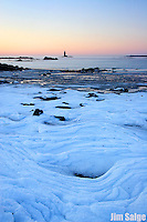 The high tide line takes on the pattern of the waves on a sub-zero morning at Fort Foster in Maine!