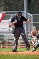 Home plate umpire Mike Savakinas strike three call during a game between the Eastern Michigan Eagles and Dartmouth Big Green on February 25, 2017 at North Charlotte Regional Park in Port Charlotte, Florida.  Dartmouth defeated Eastern Michigan 8-4.  (Mike Janes/Four Seam Images)
