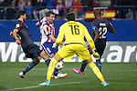 Atletico de Madrid´s Mandzukic (L) and Olympiacos´s goalkeeper Roberto and Abidal during Champions League soccer match between Atletico de Madrid and Olympiacos at Vicente Calderon stadium in Madrid, Spain. November 26, 2014. (ALTERPHOTOS/Victor Blanco)