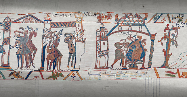 Bayeux Tapestry scene 31-32-33 : Astrologers see a comet in the sky and predict an evil omen for Harold.