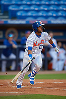 St. Lucie Mets designated hitter Luis Carpio (12) bats during a Florida State League game against the Florida Fire Frogs on April 12, 2019 at First Data Field in St. Lucie, Florida.  Florida defeated St. Lucie 10-7.  (Mike Janes/Four Seam Images)
