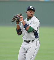 Infielder Delino DeShields, Jr. (4) of the Lexington Legends, a Houston Astros affiliate, prior to a game against the Greenville Drive on May 3, 2012, at Fluor Field at the West End in Greenville, South Carolina. DeShields Jr. is the No. 8 prospect for the Astros, according to Baseball America. (Tom Priddy/Four Seam Images)