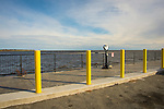 Saybrook Point parking lot and telescope. Long Island Sound.
