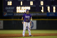 Luke Robinson (38) of the Western Carolina Catamounts takes his lead off of second base against the St. John's Red Storm at Childress Field on March 12, 2021 in Cullowhee, North Carolina. (Brian Westerholt/Four Seam Images)