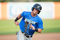 Carl Chester (13) of the Hudson Valley Renegades hustles towards third base against the Aberdeen IronBirds at Leidos Field at Ripken Stadium on July 27, 2017 in Aberdeen, Maryland.  The Renegades defeated the IronBirds 2-0 in game one of a double-header.  (Brian Westerholt/Four Seam Images)