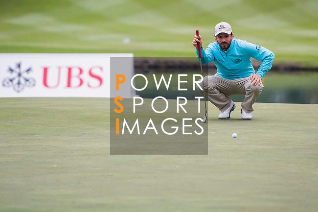 Thomas Aiken of South Africa lines up a putt during the day three of UBS Hong Kong Open 2017 at the Hong Kong Golf Club on 25 November 2017, in Hong Kong, Hong Kong. Photo by Marcio Rodrigo Machado / Power Sport Images